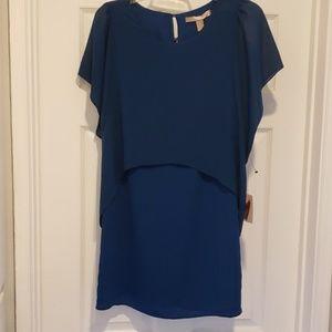 NWT Midnight Blue Dress, Chiffon Cape Top, Size XS